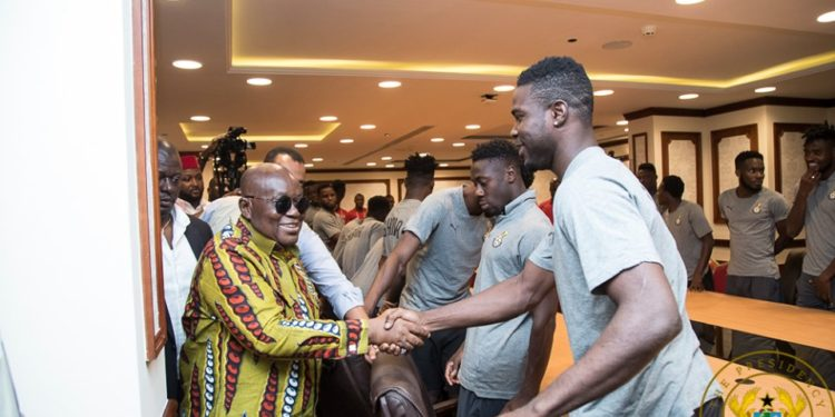 AFCON 2019: Nana Addo's visits to Black Stars in their hotel ahead of tonight's game against Benin in Pictures